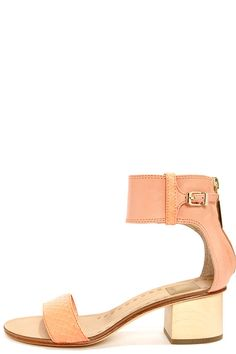 Dolce Vita Foxie Tangerine Snake Ankle Strap Leather Sandals at LuLus.com!