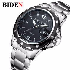 BIDEN brand watches men quartz business fashion casual watch full steel date 30m #BIDEN #Business