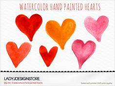 Watercolor hand painted Hearts Clip Art - watercolor red, pink, coral, orange Clip Art, heart logo design, wedding invitation, valentines by ladyjdesignstore on Etsy https://www.etsy.com/listing/179395501/watercolor-hand-painted-hearts-clip-art