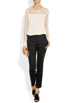 DAY Birger et Mikkelsen Crepe and lace blouse NET-A-PORTER.COM
