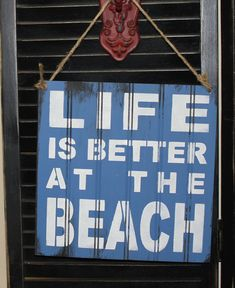LIFE is Better at the BEACH Sign/Beach house/Beach Sign/Beach Art/Ocean blue/Beach Subway on Etsy, $21.95