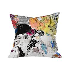 The Daydream Diva Throw Pillow offers an inspiring and artful abstract look at a pensive character surrounded by an eclectic array of themes. We love the soft, albeit haphazard, employment of color in ...  Find the Daydream Diva Outdoor Throw Pillow, as seen in the Outdoor Pillow Sale  Collection at http://dotandbo.com/collections/outdoor-pillow-sale-2016?utm_source=pinterest&utm_medium=organic&db_sku=105639