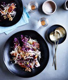 Roast chicken salad with celeriac, radicchio and pink grapefruit :: Gourmet Traveller