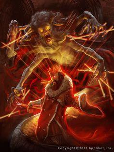 Artist: Marc Simonetti aka Kemar - Title: The messenger of the Underworld, adv - Card: Duke of Buckingham (Plotting)