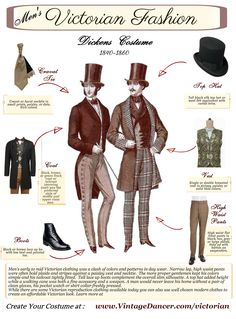 Buy new Victorian mens clothing with a quality suit, coat, vest, pants, shirt, cravat, boots, spats, top hat, gloves, cane and a pocket watch.