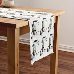 Pretty White Carousel Horse Short Table Runner - kitchen gifts diy ideas decor special unique individual customized