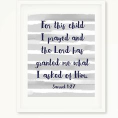 Gray and White Nursery | Baby Boy | For This Child I Prayed | Samuel 1:27