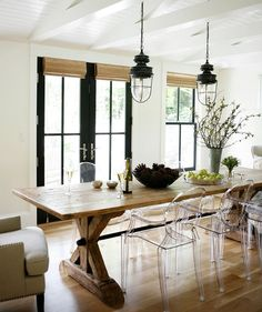 Dining Room With Farm Table And Ghost Chairs By H2 Design Build Modern Farmhouse