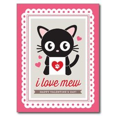 I Love Mew! by Origami Prints Valentine Postcard - - - 30% Off Invitations and Cards with Code:  YOUREINVITED Offer expires 3/31/2015 11:59 PM (PT)
