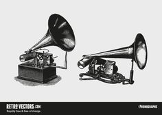 Vintage Gramophone Vector   Vintage Vectors   Royalty Free   Free of Charge   Commercial Use   Free Retro Vectors