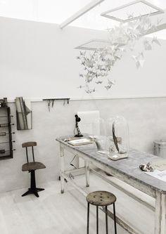 White work room.