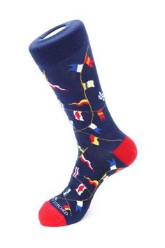 Unsimply Stitched Nautical Flags Sock - Blended Combed Cotton Polyamide Spandex 8 To 12 Nautical Flags, Blue Socks, Happy Socks, Color Patterns, Black And Brown, Men's Shoes, Mens Fashion, How To Wear, Cotton
