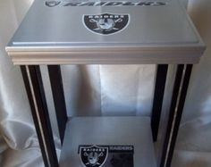 Oakland Raiders Football Table, End Table, Side Table, Man Cave, NFL Decor
