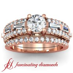 Round Cut Diamond Engagement Wedding Rings Set with Tapered Baguettes set in between 2 rows of Round Diamonds  In Pave Setting