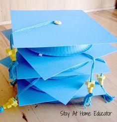 Cute DIY graduation caps for preschool. {Stay At Home Educator}