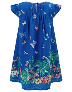 Add a burst of colour to her everyday wardrobe with our Tanzania dress for girls. Showcasing a print of exotic flowers and animals, this eye-catching style f...