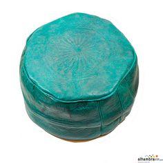 Puff grabado verde azulado