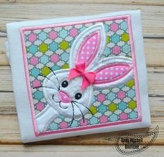Bunny in a box applique embroidery design by BeauMitchellBoutique