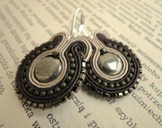 Vintage style hand embroidered earrings, pyrite, olive green, brown, beige, soutache earrings. $43.00, via Etsy.
