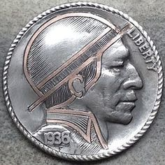 """Hobo nickel """"Indian Fur Trader"""" by Raelene Westaby Hobo Nickel, Coin Art, World Coins, Buffalo, Copper, Carving, Stuff To Buy, Profile, Fur"""