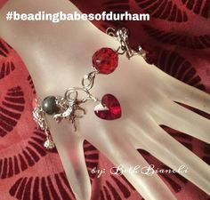 Wire wrapping, wire scrolls, wire charm bracelet.  Valentine jewelry. DIY, Handmade, wire connectors, Beading Babe's of Durham beading group