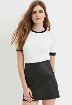 Contemporary Contrast-Trim Ribbed Sweater | Forever 21 - 2000163400