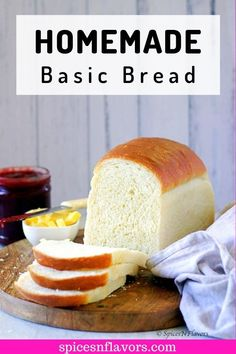 This homemade White Bread recipe from scratch makes a light, fluffy, soft and incredibly tall bread loaf that is perfect for sandwiches, toast, or simply with butter and jam. How To Store Bread, How To Make Bread, Cooking Bread, Bread Baking, Basic Bread Recipe, Homemade White Bread, Homemade Breads, Sandwich Bread Recipes, Eggless Baking