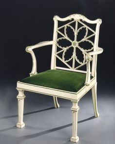 A George III gothic motif painted armchair attributed to Thomas Chippendale Ca1770 England.