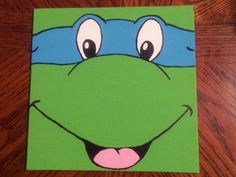 Ninja Turtle Cartoon Painted Canvas Panel 8x8 by FromTeraWithLove