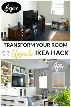 Transform a family room with this upscale IKEA hack!  #ikeahack #diyproject #builtins #storage #organization #cabinets #familyroom #kidsorganization #mediastorage #diybuiltins #homeimprovement #coastaldesign #traditionaldecor #homedecor #moderndecor #shelves via @heytherehome