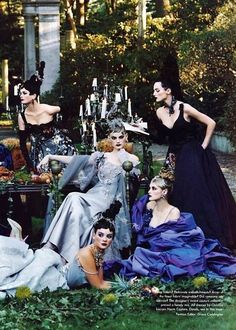 Kylie Bax et al. in haute couture glamour, 1996.