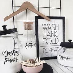 Peony Laundry Label Sets - Kmart Jars - Home organisation - Peony Laundry Label Sets – Kmart Jars – Kmart Laundry Organisation - Pantry Organisation, Laundry Room Organization, Refrigerator Organization, Laundry Decor, Laundry Room Design, Laundry Labels, Laundry Cupboard, Kmart Home, Kmart Decor