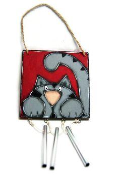 Gray cat wind chime - Cat door hanger - Gray cat on door sign