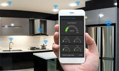 internet of things iot smart home kitchen network connect concept. human hand holding white phone smart home application to count power usage application and wifi icon with kitchen background Smart Home Ideas, Iot Smart Home, Smart Home Security, Home Security Systems, Best Kitchen Lighting, Cool Lighting, Lighting Ideas, Home Automation System, Smart Home Automation
