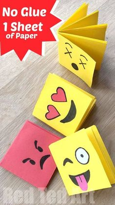 You can make this Emoji Notebook DIY out of ONE sheet of paper (hooray) and NO GLUE. Making this a fabulous paper craft for kids. Love mini notebooks!