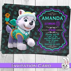 PAW Patrol Everest Invitation card от FunnyBunnyStore на Etsy