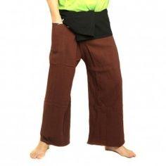 Pescador pantalones tailandeses extralargo de dos colores - negro de algodón marrón
