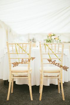 His & Hers chairs: http://www.stylemepretty.com/2014/10/30/charming-english-countryside-wedding-in-yorkshire/ | Photography: M & J - http://www.mandjphotos.com/