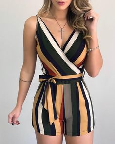 Striped Sleeveless Tied Rompers Short Jumpsuit Sexy V-neck - ecofashionova Girls Occasion Dresses, Girls Dresses, Stylish Outfits, Fashion Outfits, Womens Fashion, Diva Fashion, Ootd Fashion, Street Fashion, Fashion Trends