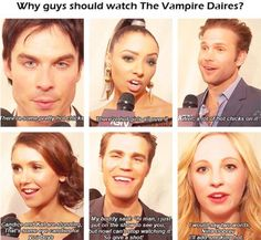 Why guys should watch The Vampire Diaries.because of the hot chicks! lol so funny Serie The Vampire Diaries, Vampire Diaries Poster, Vampire Diaries Quotes, Vampire Diaries Seasons, Vampire Diaries Damon, Vampire Diaries Wallpaper, Vampire Diaries The Originals, Citations Vampire Diaries, Stefan E Caroline