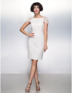 TS Couture® Cocktail Party Dress Sheath / Column Scoop Knee-length Chiffon with Flower(s) – USD $ 175.00
