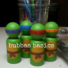 Ninja Turtle peg dolls 4pc SET by BubbasBasics on Etsy, $27.00