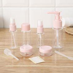 Travel Cosmetics Bottles Set – MacCorral Empty Glass Bottles, Alcohol Bottles, Perfume Bottles, Pink Bottle, Cosmetic Bottles, Perfume Samples, Essential Oil Bottles, Travel Toiletries, Beauty Shop