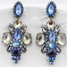 Kristall Ohrringe, Zinklegierung, mit Kristall, antike Bronzefarbe plattiert, mit Strass, keine, frei von Nickel, Blei & Kadmium, 75x45mm, 1...