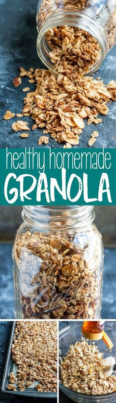 Healthy Homemade Granola Skip the store-bought granola and whip some up at home using ingredients already in your pantry! This healthy homemade granola recipe is quick to prep, super easy, and sweetened naturally! Yummy Food, Tasty, Paleo Dessert, Dessert Recipes, Recipes Dinner, Lunch Recipes, Appetizer Recipes, Cake Recipes, Appetizers