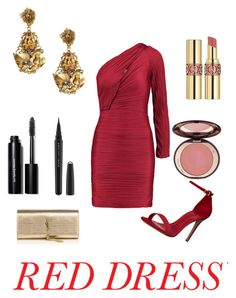 """""""Red Dress 4"""" by gennijan on Polyvore featuring Halston Heritage, Dolce&Gabbana, Schutz, Yves Saint Laurent, Bobbi Brown Cosmetics, Marc Jacobs, Charlotte Tilbury, women's clothing, women and female"""