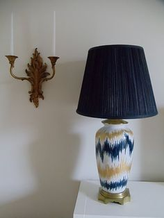 Can't believe this ikat pattern was done with a paint pen - wonder if I could pull this off? #lamp #paintpen #ikat #DIY