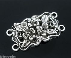 10 Silver Tone 4 Holes Flower Charm Connectors Beads