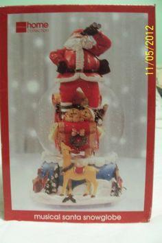 Santa Muscial Snow Globe JCPenny Home Collection Here Comes Santa Clause NIB