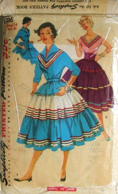 "JUNIOR MISSES' AND MISSES' SQUAW SKIRT WITH CUMMERBUND AND SQUAW BLOUSE: ""Simple To Make"" skirt features three tiers, each gathered to the other. Blouse has kimono sleeves. V. 1 and 2 sleeves are three quarter length; pointed collar is shown. V. 3 blouse has a wide V-neckline. Sleeves are short. Skirt in this view is worn with matching cummerbund. Rick rack trims V. 1 and 3."